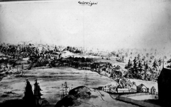 Larvik seen from the West towards East in approximately 1740