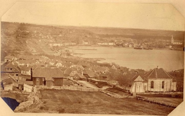 Panorama of Larvik from about 1865