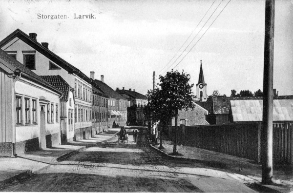 The wooden architecture on the main street of Larvik - Storgaten