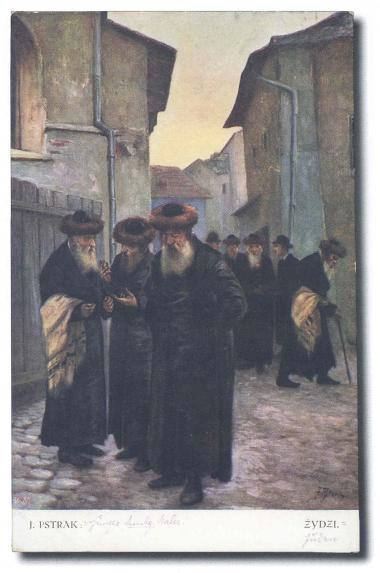 Rabini udający się na modlitwę. Pocztówka sprzed 1918 r.