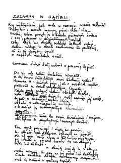 """Józef Łobodowski, rękopis """"Zuzanna w kąpieli"""""""